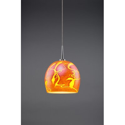 Delta 1-Light Mini Pendant Color: Matte Chrome, Shade Color: Amber