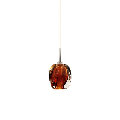 Aurora 1-Light Mini Pendant Shade Color: Amber, Color: Matte Chrome