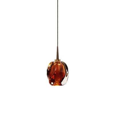Aurora 1-Light Mini Pendant Shade Color: Amber, Finish: Bronze