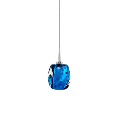 Aurora 1-Light Mini Pendant Shade Color: Blue, Finish: Matte Chrome