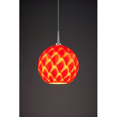 Sirena 1-Light Mini Pendant Color: Matte Chrome, Shade Color: Red