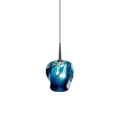 Aurora 1-Light Mini Pendant Shade Color: Blue, Color: Chrome