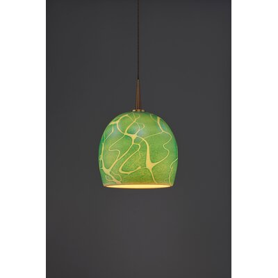 Delta 1-Light Mini Pendant Finish: Bronze, Shade Color: Seafoam