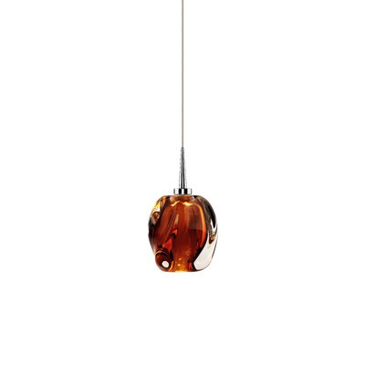 Aurora 1-Light Mini Pendant Shade Color: Amber, Color: Chrome