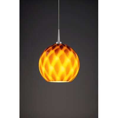Sirena 1-Light Mini Pendant Color: Matte Chrome, Shade Color: Amber