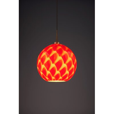 Sirena 1-Light Mini Pendant Color: Bronze, Shade Color: Red
