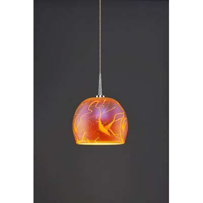 Delta 1-Light Mini Pendant Shade Color: Amber, Finish: Chrome