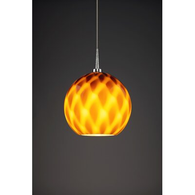Sirena 1-Light Mini Pendant Color: Chrome, Shade Color: Amber