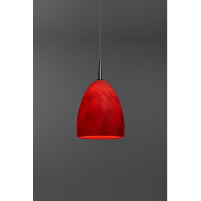 Alexander 1-Light  Monopoint Mini Pendant Color: Matte Chrome, Shade Color: Red