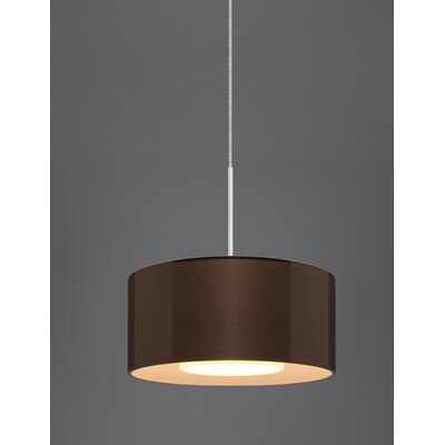 Cantara Drum Pendant Finish: Matte Chrome, Shade Color: Bronze outer / White inner