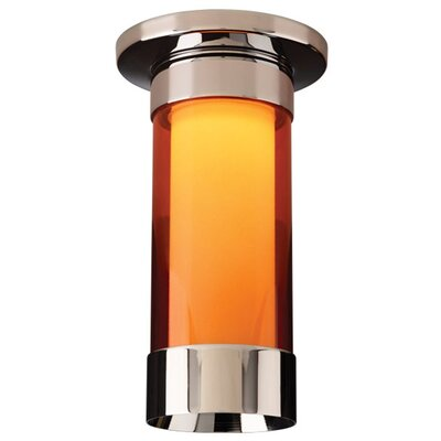 Silva 1-Light Flush Mount Color: Chrome, Shade Color: Orange
