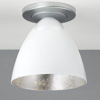 Cleo 1-Light Flush Mount Finish: Bronze, Interior Shade Color: Silver