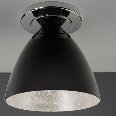 Cleo 1-Light Flush Mount Color: Chrome, Interior Shade Color: Silver