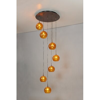 Bobo 7-Light Cluster Pendant Finish: Bronze, Shade Color: Amber