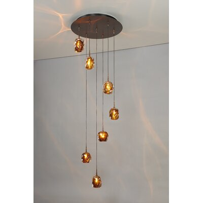 Aurora 7-Light Cascade Pendant Finish: Bronze, Shade Color: Amber
