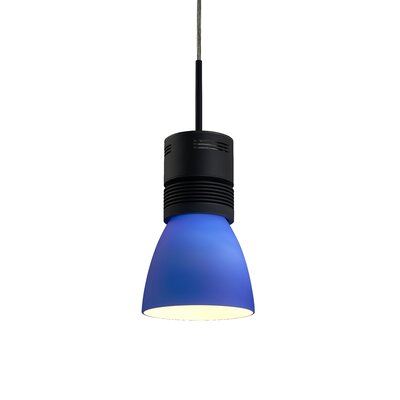 Z15 1-Light 1100 Lumen Mini Pendant Shade Color: Blue, Base Finish: White