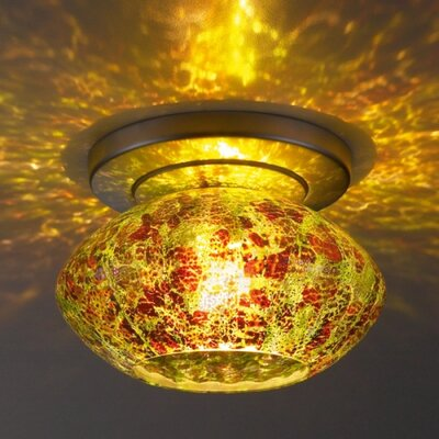 Pandora 1-Light Ceiling Mount Finish: Matte Chrome, Shade Color: Garnet Glass