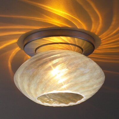 Pandora 1-Light Ceiling Mount Finish: Matte Chrome, Shade Color: Opaline Glass