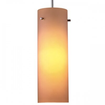 Titan 1-Light Mini Pendant Color: Matte Chrome, Glass Color: Amber, Canopy/Bulb type: 2 Canopy/Halogen