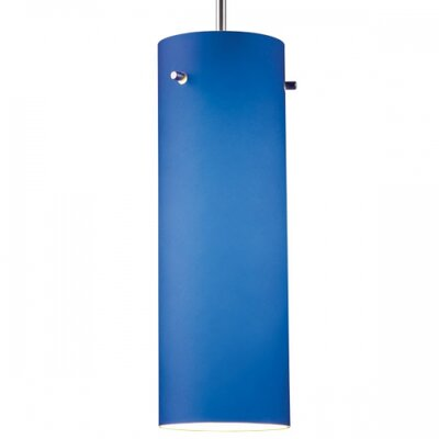 Titan 1-Light Mini Pendant Color: Chrome, Glass Color: Blue, Canopy/Bulb type: No Canopy/Halogen
