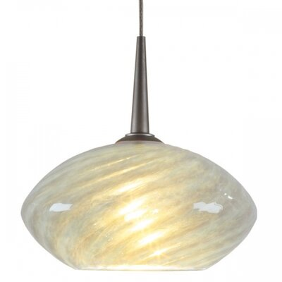 Pandora 1-Light Mini Pendant Finish: Bronze, Canopy/Bulb type: No Canopy/Halogen, Glass Color: Sapphire