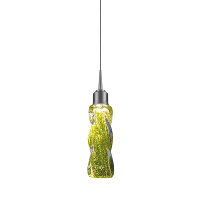 Aria 1-Light LED Mini Pendant Base Finish: Bronze, Shade Color: Green