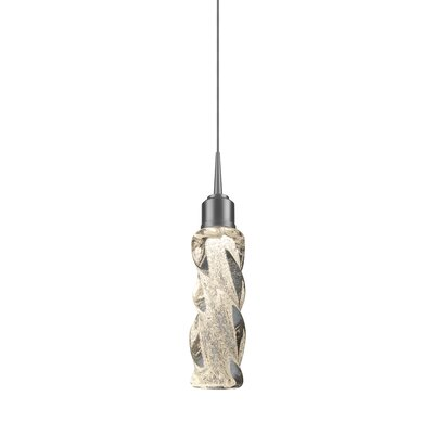 Aria 1-Light LED Mini Pendant Base Finish: Matte Chrome, Shade Color: Green
