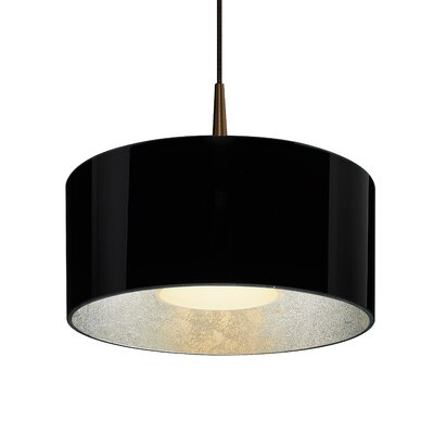 Hebron 1-Light Drum Pendant Finish: Black /Silver