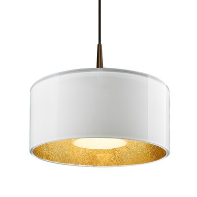 Hebron 1-Light Drum Pendant Finish: White/Gold