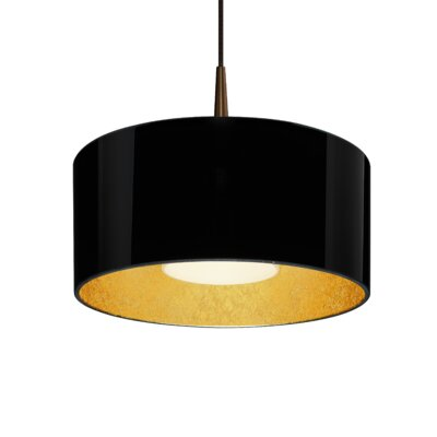 Hebron 1-Light Drum Pendant Finish: Black/Gold