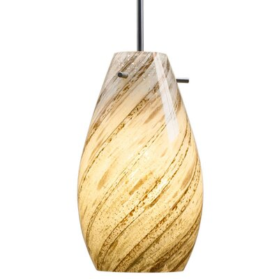 Soho Mono Point Pendant Light Color: Matte Chrome, Shade Color: Yellow and Red, Bulb Type: GU24 CFL