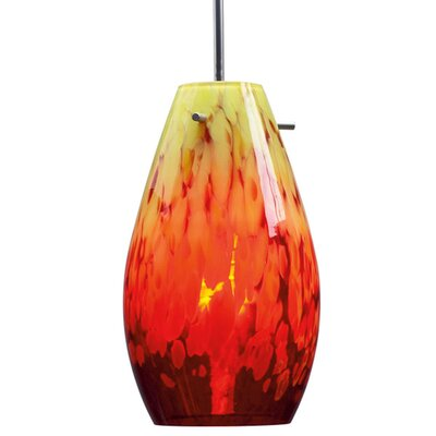 Soho 1-Light Mini Pendat Color: Matte Chrome, Shade Color: Yellow / Red