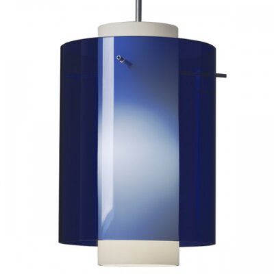 Rome 1 LED Integrated Bulb Mini Pendant Color: Chrome, Shade Color: Blue
