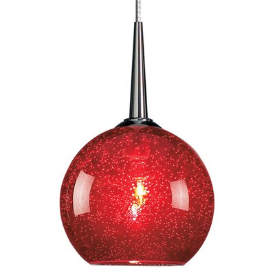 Bobo 1-Light Globe Pendant Finish: Bronze, Shade Color: Red