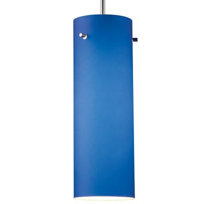 Titan 1-Light Mini Pendant Color: Chrome, Shade Color: Blue, Bulb Type: Incandescent