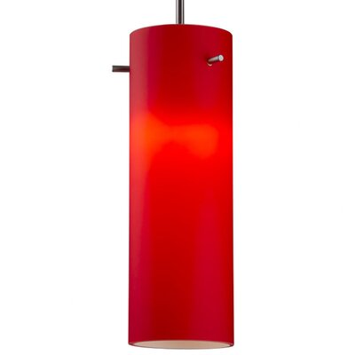 Titan 1-Light Mini Pendant Finish: Bronze, Shade Color: Red, Bulb Type: Compact Fluorescent