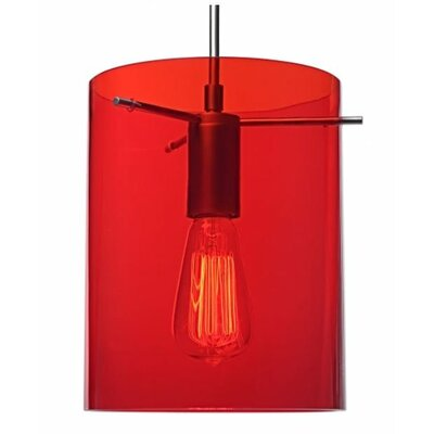 London 1-Light Monopoint Pendant Color: Matte Chrome, Shade Color: Red