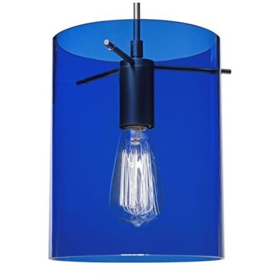 London 1-Light Monopoint Pendant Shade Color: Blue, Finish: Matte Chrome