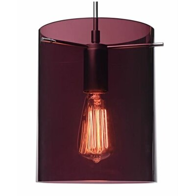 London 1-Light Monopoint Pendant Color: Matte Chrome, Shade Color: Amethyst