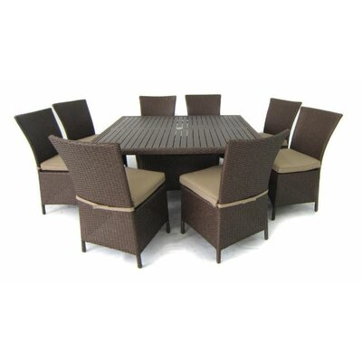 9-piece Samantha Patio Dining Set In Light Brown