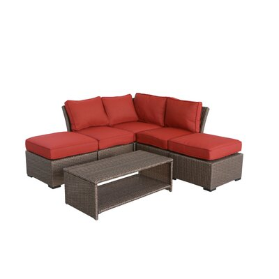 Jaidon 6 Piece Rattan Sectional Set with Cushions Cushion Color: Ribbed Brick