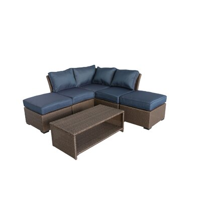 Jaidon 6 Piece Rattan Sectional Set with Cushions Cushion Color: Ribbed Navy