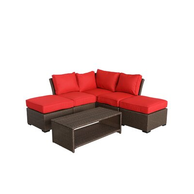 Jaidon 6 Piece Rattan Sectional Set with Cushions Cushion Color: Ribbed Strawberry