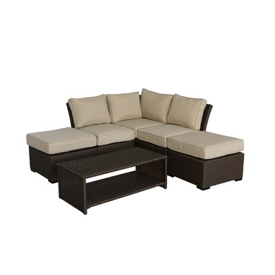 Jaidon 6 Piece Rattan Sectional Set with Cushions Cushion Color: Beige