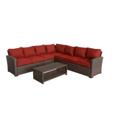 Behan 4 Piece Rattan Sectional Set with Cushions Cushion Color: Ribbed Brick