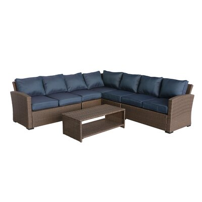 Behan 4 Piece Rattan Sectional Set with Cushions Cushion Color: Ribbed Navy