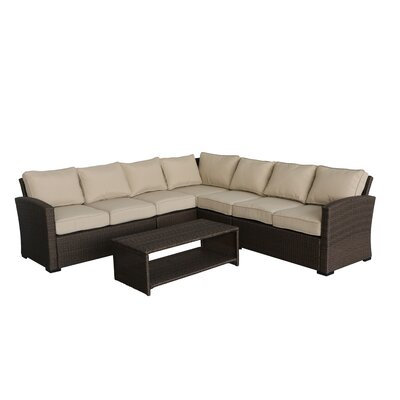 Behan 4 Piece Rattan Sectional Set with Cushions Cushion Color: Beige