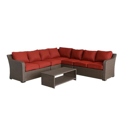 Danby 4 Piece Rattan Sectional Set with Cushions Cushion Color: Ribbed Brick