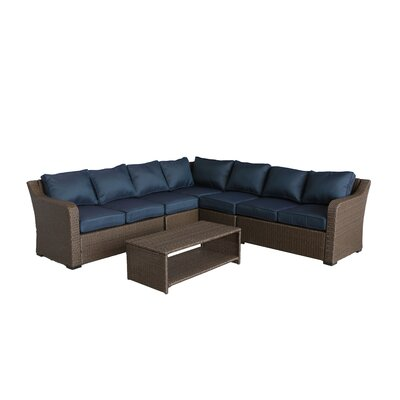Danby 4 Piece Rattan Sectional Set with Cushions Cushion Color: Ribbed Navy