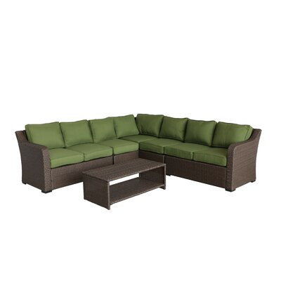 Danby 4 Piece Rattan Sectional Set with Cushions Cushion Color: Ribbed Verde
